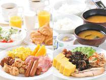 朝食はバイキング。和洋の豊富なメニューをご用意しております。