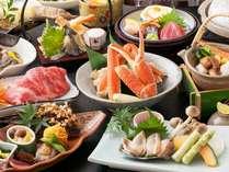 食材のAKB、あわび、カニ、ビーフ(岡山和牛)に松茸の土瓶蒸しが加わったお料理です。