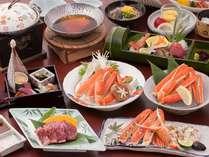 ズワイ蟹鍋、蟹酢、焼き蟹に岡山和牛も楽しめます。