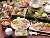 春のグルメ会席:山女の甘露煮、岡山和牛と鮑の陶板焼き、鰆のしゃぶしゃぶ、岡山まつり寿司