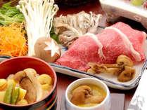 松茸の茶わん蒸し・岡山和牛と松茸のすき焼・森林鶏の陶板焼・松茸と栗のご飯など