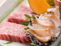 【岡山和牛と活き鮑の陶板焼き】お好みの焼き加減でどうぞ♪