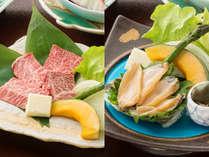 【陶板焼き】≪岡山和牛or活き鮑≫お好きな方をお選びいただけます。※予約時にお知らせください。