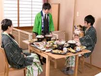 【離れの館・わんこ家竹亭】お食事風景 お部屋にご準備いたします。