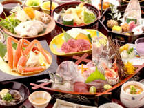 【冬の宝石箱会席】小鯛の姿造り・ズワイ蟹・岡山和牛の陶板焼・てっちり