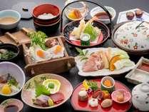 《春のかぐや姫会席》ピーチポークせいろ蒸し、岡山森林鶏陶板焼き、山菜の天ぷらなど♪