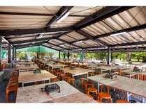 夕食時にご利用いただけるBBQ場! 屋根がついているので雨天時も安心です