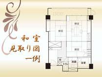 和室の見取り図、一例。