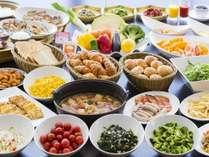 朝食バイキング/料理の一例。お好きな物をお腹いっぱい、元気いっぱいお出かけください。