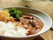 【朝食ブッフェ一例】豆乳と和風だしで仕上げたカレーに、九条ねぎとゆばチップのトッピング