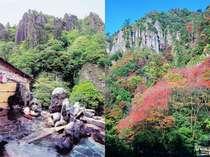 高い空と色づいた紅葉や楓がたちが秋の深まりを感じさせてくれます。立久恵峡の秋。