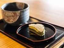 ■オリジナル銘菓とお抹茶でお出迎えしております。