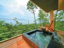 那須岳や関東平野を望む展望露天風呂(2階客室一例)。岩、陶器、檜、御影石と趣向の異なる四種の湯船有♪