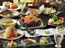 季節の創作料理一例。旬の素材、那須の地場食材を生かした献立は、どれも料理長の自信作!