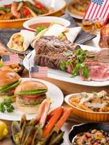 ローストビーフ・ハンバーガ、カリフォルニアロールなどアメリカンな料理をご用意