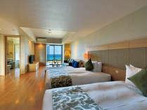 開放感あふれるデラックスツイン!ベッドルームとリビングもゆったりとした造りの快適なスペースが魅力