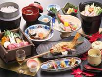 日本海の高級魚「のどぐろ」を2匹と能登ブランド牛の能登牛のセイロ蒸がメインの秋の会席