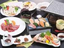 夏のグルメ会席「能登牛石焼きと魚介の寿司」会席