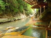 川岸露天風呂、にごり湯満喫