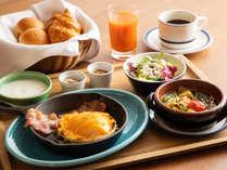 軽井沢グリルのスキレット朝食~チェダーチーズのベイクドクロックマダム