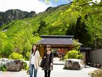 【外観(夏)】重厚な山門をくぐると、そこは山と自然に囲まれた癒しの宿。