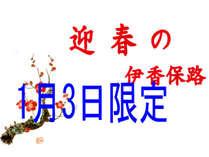 1月3日限定 お正月お年玉企画(先着10組) お食事は会食場で ¥14,040 (税込)入湯税別