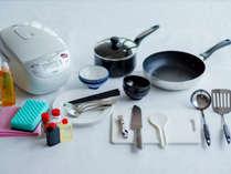コンドミニアムタイプのお部屋には、簡易キッチン・用品も完備しております。