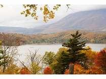 紅葉前線停滞中の野尻湖畔から黒姫山を望む