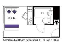 セミダブルルーム 2名様仕様 11平米 ベッド120cm