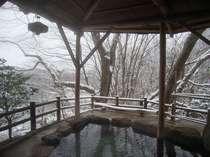 冬・雪景色の露天風呂【水芭蕉の湯】(TVCMや雑誌の表紙にも起用されました)