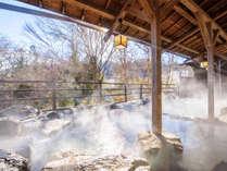 【水芭蕉の湯(男】四季折々の表情を感じられる山沿い露天風呂「水芭蕉の湯」