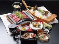会席料理例(内容は毎月変更となります、写真の瓦焼き・舟盛は4人前です),兵庫県,加古川温泉 みとろ荘
