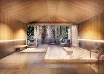 【大浴場】古代檜の香りに包まれる内風呂と大きな岩から湯の滝が流れる露天風呂があります