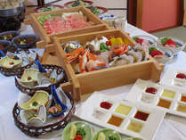 【白龍会席】国産豚と旬菜とズワイガニと旬魚のセイロ会席