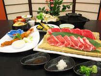 【春 雲流会席】国産牛と国産豚の焼きしゃぶと『海鮮ちらし寿司』※写真の大皿料理は2人前です。