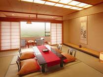 【さんさ亭本館/特室】蔵王の山を見渡す「12.5畳の和室」と「旬彩会席」