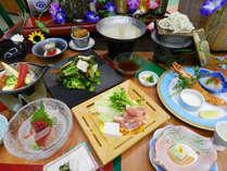 【夏 楽彩会席】「銘柄鶏の博多風水炊き」と「カレイの陶板焼ラタトゥイユ」