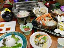 【夏 潮流会席】ズワイガニ・ホタテ・タコ・国産豚の網焼き ※写真の大皿料理は2人前です。