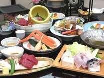 【さんさ亭本館】<冬味覚(1)>「牛フィレ陶板焼き」と「虎ふぐのちり鍋」そして「ズワイガニ」【華彩会席】
