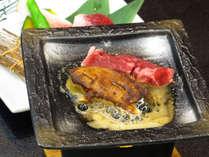 フォアグラ&牛の陶板焼き