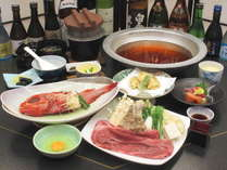 【蔵王会席】「仙台牛すき焼き」と「吉次の煮付け」