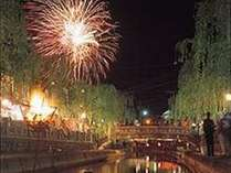 7/27~8/26は、日替わりイベント開催。お奨めは花火!当館前からの橋からバッチり。