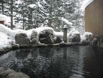 冬の露天風呂(朝)雪見の露天風呂は風情も格別!