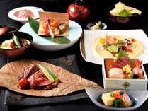 【飛騨牛会席】≪稲葉山≫主菜の肉料理はA5ランクの飛騨牛サーロインステーキ、ほんのり移る朴葉の香り