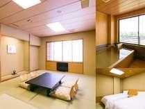 専用の檜風呂を持つ特別室は3間続きで、ゆったりとお過ごしいただけます。寝室にはベッド2台を設置。