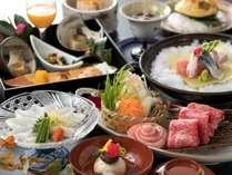 県産グルメの佐賀牛ロースと若楠ポークの豆乳しゃぶをメインに、冬を味わう(2/28までの料理イメージ)
