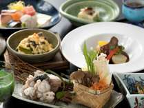 鮟鱇鍋や牡蠣味噌焼など、冬の味覚と地元食材満載の四季懐石(12/1から2/28までの料理イメージ)