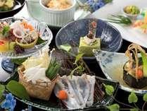 真蛸の抹茶しゃぶがメインの『四季懐石』旬の食材をご堪能ください(6/1から8/31までの料理イメージ)