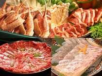 選べるW鍋コース♪(かにすき・牛しゃぶ・鴨鍋・鯛しゃぶから2種類)