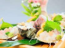 さざえと魚の姿造りなど新鮮な魚介類(器・内容は変更あり)